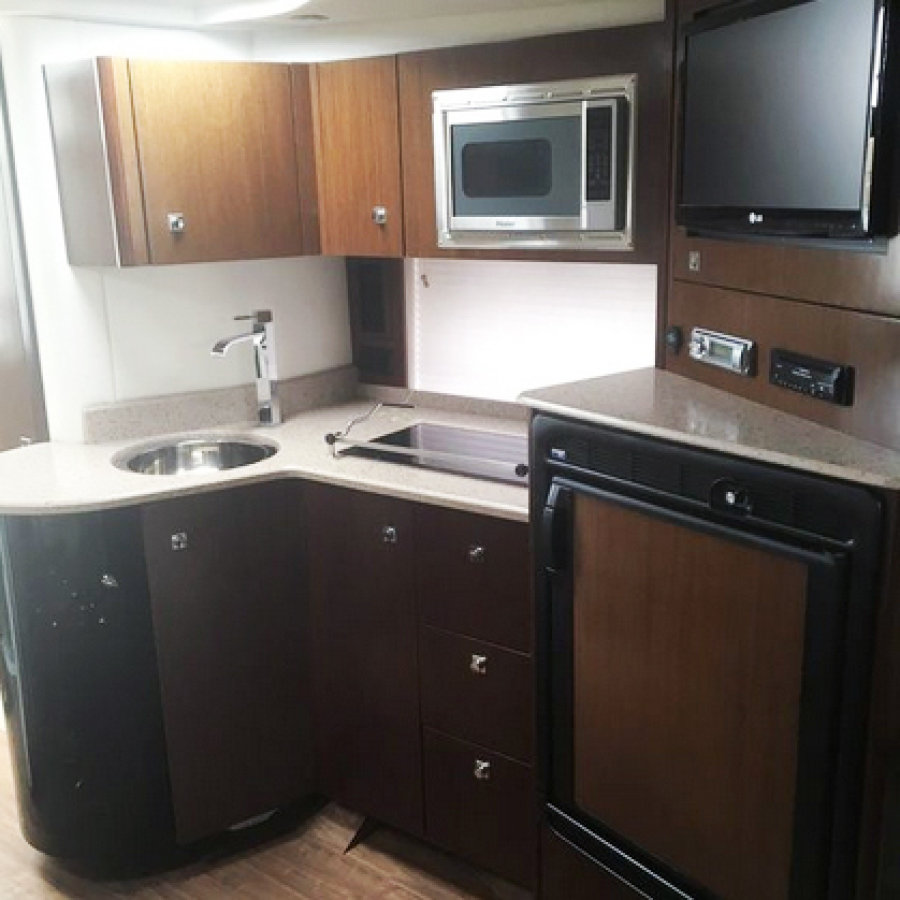 2013 Cruisers 380 Express Galley Fridge Stove Microwave Sink TV Sound System